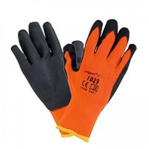 Рабочие перчатки 1029 из полиэстера покрыты латексом, черно-оранжевого цвета. URGENT