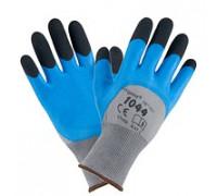 Рабочие перчатки 1044 покрыты акрилом со вспененным латексом, черно-серо-голубого цвета. URGENT