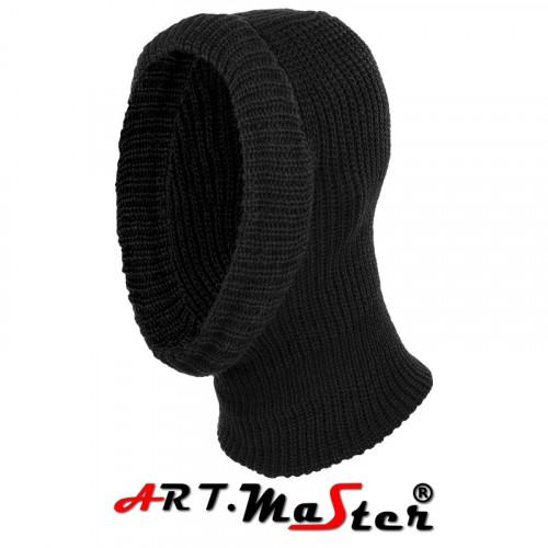 Зимняя шапка вязаная балаклава CzKom2 - black, черного цвета. ARTMAS