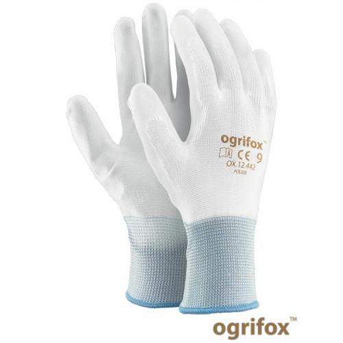 Перчатки для работ OX-POLIUR WW требующих точность и ловкость, белого цвета. REIS