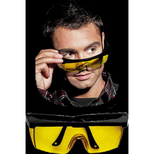 Противоосколочные защитные очки GOG-FRAMEB-LIGHT YB UNI регулируются по длине, желтого цвета. REIS