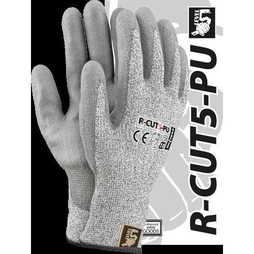 Перчатки защитные R-CUT5-PU BWS изготовленные из пряжи HDPE покрыты полиуретаном, серого цвета. REIS