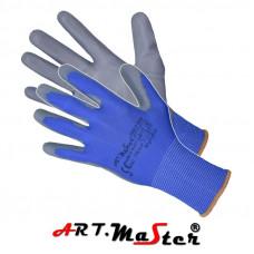Защитные рукавицы RnyPu Blue изготовленные из полиэстера, покрытые полиуретаном. ARTMAS