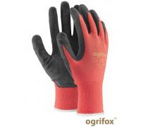 Перчатки для строительства и механических работ OX-LATEKS CB, красного-черного цвета. REIS