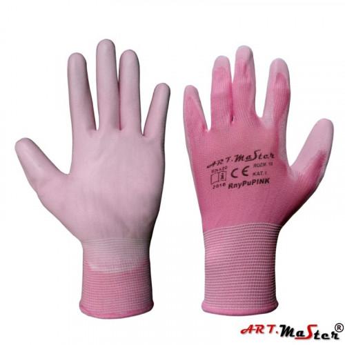 Защитные рукавицы RnyPu Pink изготовленные из полиэстера, покрытые полиуретаном. ARTMAS